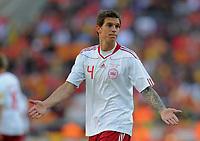 Fotball<br /> VM 2010<br /> Nederland / Holland v Danmark<br /> 14.06.2010<br /> Foto: Witters/Digitalsport<br /> NORWAY ONLY<br /> <br /> Daniel Agger (Daenemark)<br /> Fussball WM 2010 in Suedafrika, Vorrunde, Niederlande - Daenemark