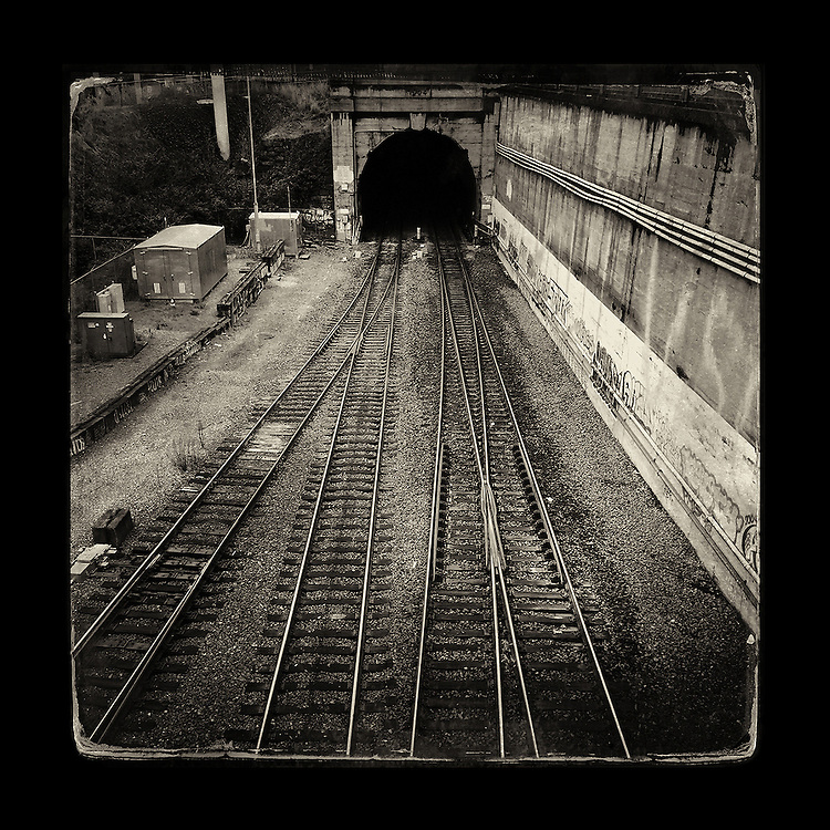 "Charles Blackburn image of a train tunnel in downtown Seattle, WA. 5x5"" print."