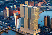 Nederland, Zuid-Holland, Rotterdam, 07-02-2018; Centrum Rotterdam in winters avondlicht, bij zonsondergang. Kop van Zuid (Wilhelminakade) met gebouw De Rotterdam (architect Rem Koolhaas / OMA).<br /> City centre Rotterdam, Head of (the) South with highrise buildings, The Rotterdam.<br /> <br /> luchtfoto (toeslag op standard tarieven);<br /> aerial photo (additional fee required);<br /> copyright foto/photo Siebe Swart