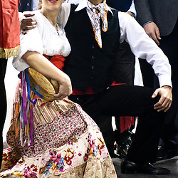 Milan, Italy - February  17: Performers dressing in traditional sicilian outfit at BIT International Tourism Exchange on february 17, 2012 in Milan, Italy.