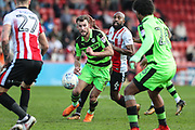 Forest Green Rovers Christian Doidge(9) runs forward during the EFL Sky Bet League 2 match between Cheltenham Town and Forest Green Rovers at LCI Rail Stadium, Cheltenham, England on 14 April 2018. Picture by Shane Healey.