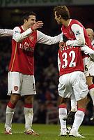Photo: Olly Greenwood.<br />Arsenal v Blackburn Rovers. The Barclays Premiership. 23/12/2006. Arsenal's Mathieu Flamini celebrates scoring with Robin Van Persie and Theo Walcott