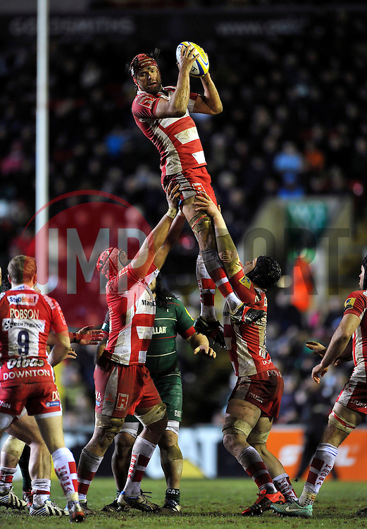 Tom Palmer of Gloucester Rugby claims the ball at a lineout - Photo mandatory by-line: Patrick Khachfe/JMP - Mobile: 07966 386802 13/02/2015 - SPORT - RUGBY UNION - Leicester - Welford Road - Leicester Tigers v Gloucester Rugby - Aviva Premiership