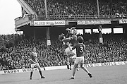 Dublin and Galway players both jump for the ball during the All Ireland Senior Gaelic Football Championship Final Dublin V Galway at Croke Park on the 22nd September 1974. Dublin 0-14 Galway 1-06.