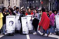 Roma   8  Marzo  1994. Manifestazione per la liberazione di Silvia Baraldini, detenuta in carcere negli Stati Uniti d'America .http://it.wikipedia.org/wiki/Silvia_Baraldini.Rome March 8,1994. Demonstration for the release of Silvia Baraldini, held in prison in the United States of America.http://en.wikipedia.org/wiki/Silvia_Baraldini