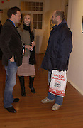 Darren Coffield, Eva Jakubowska and Gavin Turk, Colony Room club exhibition and auction. Elms Lester Painting rooms, Flitcroft St. 5 December 2003. © Copyright Photograph by Dafydd Jones 66 Stockwell Park Rd. London SW9 0DA Tel 020 7733 0108 www.dafjones.com