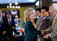 HOUSTON, TX - FEBRUARY 08: The Senator greets a supportive crowd at a Hispanic community campaign event... Senior Senator and candidate for Texas governor, Kay Bailey Hutchison,  campaigns through Texas in a close race against Governor Rick Perry for the republican nomination, February 08, 2010 in Houston, Texas. (Photo by Melina Mara/The Washington Post)..
