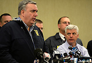 Boston Police Commissioner Ed Davis addresses members of the media at a press conference in Boston on April 15, 2013. At least three people were killed by two explosions on Boylston Street near the finish line of the Boston Marathon, in which 27,000 people competed today.