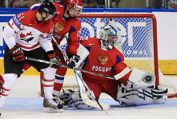 Rick Nash (61) of Canada vs goalkeeper Evgeny Nabokov at  ice-hockey game Canada vs Russia at finals of IIHF WC 2008 in Quebec City,  on May 18, 2008, in Colisee Pepsi, Quebec City, Quebec, Canada. Win of Russia 5:4 and Russians are now World Champions 2008. (Photo by Vid Ponikvar / Sportal Images)