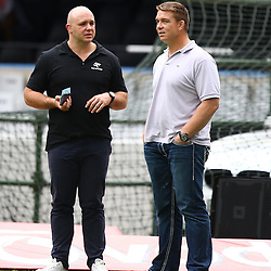 DURBAN, SOUTH AFRICA - MARCH 28: Eduard Coetzee with John Smit (Chief executive officer) of the Cell C Sharks during the Super Rugby match between Cell C Sharks and Western Force at Growthpoint Kings Park on March 28, 2015 in Durban, South Africa. (Photo by Steve Haag)