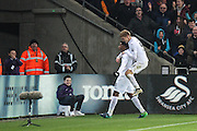 Leroy Fer of Swansea City celebrates his teams second goal during the Premier League match between Swansea City and Crystal Palace at the Liberty Stadium, Swansea, Wales on 26 November 2016. Photo by Andrew Lewis.
