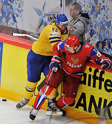 11.05.2012, Ericsson Globe, Stockholm, SWE, IIHF, Eishockey WM, Russland (RUS) vs Schweden (SWE), im Bild, Sverige Sweden 93 Johan Franzen Russia 74 Alexei Yemelin (Montreal Canadians) // during the IIHF Icehockey World Championship Game between Russia (RUS) and Sweden (SWE) at the Ericsson Globe, Stockholm, Sweden on 2012/05/11. EXPA Pictures © 2012, PhotoCredit: EXPA/ PicAgency Skycam/ Simone Syversson..***** ATTENTION - OUT OF SWE *****