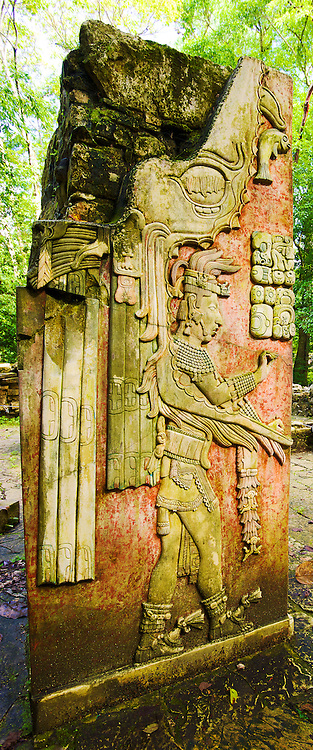 Detailed stucco artwork on the centre column of Templo XIX, Palenque, México.