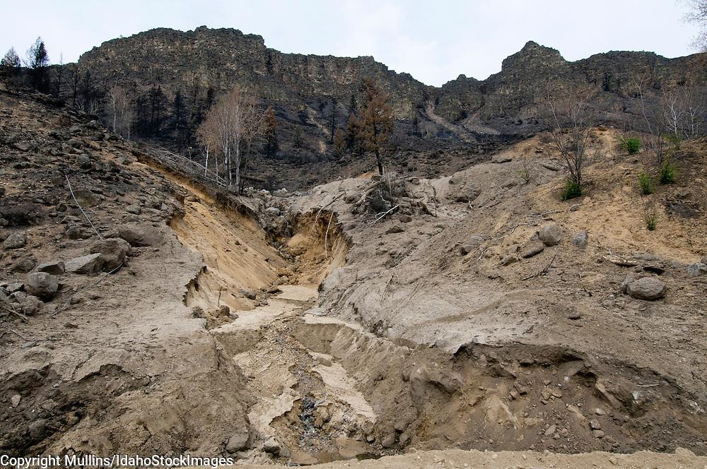 Landslides along South Fork Boise River, Idaho, after Elk Complex Fire in August 2013