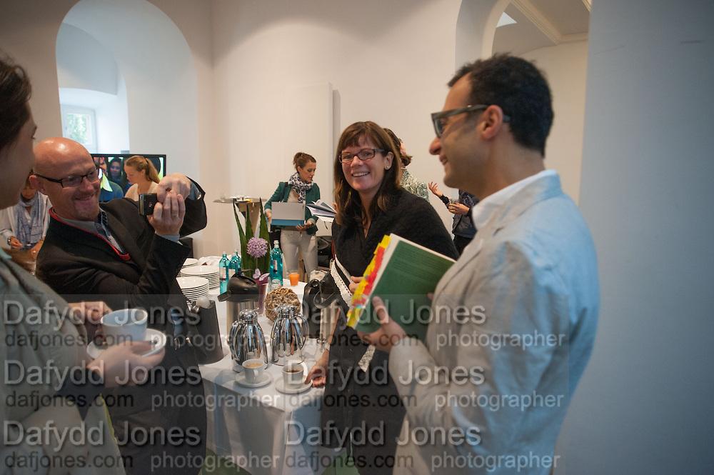 ULRIKA LOVDAHL; VADIM GRIGORIAN, Breakfast and introduction to Documenta (13), at Ständehaus<br /> Venue: Standehaus, Absolut Maybe bar area, Documenta ( 13 ), Kassel, Germany. 14 September 2012.