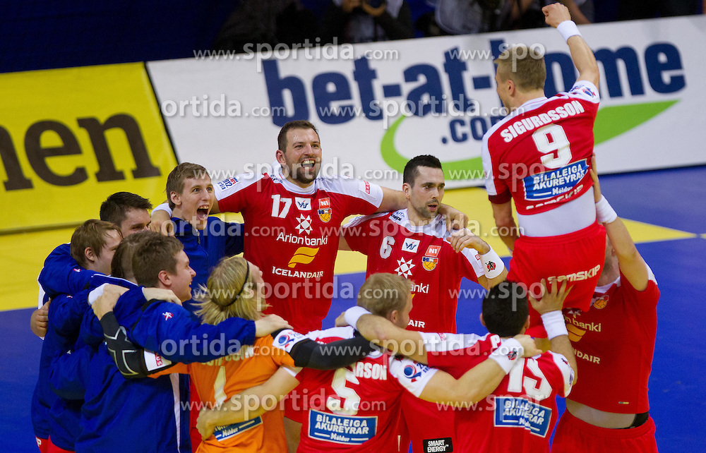 Players of Iceland celebrate after the handball match between Iceland and Norway in  2nd Round of Preliminary Round of 10th EHF European Handball Championship Serbia 2012, on January 18, 2012 in Millennium Center, Vrsac, Serbia. Iceland defeated Slovenia 34-32. (Photo By Vid Ponikvar / Sportida.com)
