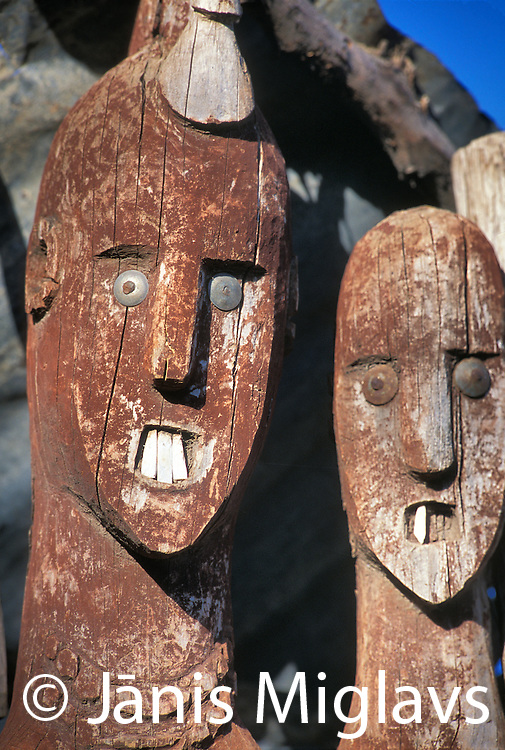 Konso Wakas stand in remembrance of the tribes dead, in Ethiopia, Africa.