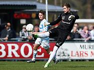 FODBOLD: Mikkel Bruhn (FC Helsingør) sparker væk under kampen i NordicBet Ligaen mellem FC Helsingør og FC Roskilde den 9. april 2017 på Helsingør Stadion. Foto: Claus Birch