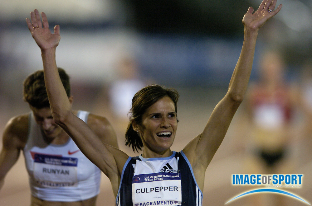 Jul 12, 2004; Sacramento, CA, USA: Shayne Culpepper celebrates after winning the women's 5,000 meters in 15:07.41 in the U.S. Olympic Track & Field Trials at Cal State Sacramento's Hornet Stadium. Photo by Image of Sport
