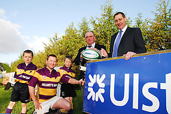 Gearing up for rugby club renovation work ..Ulster Bank's John Dempsey meeting with Ballyhaunis Rugby Club 1st's team captain Seamus Horan and club president Tony Henry  ahead of the renovations work at the club winning the provincial award for Ulster Bank's Rugby Force campaign..Club mini's Jason Hession and Phillip Costello also came along to lend their support. ..Pic Conor McKeown