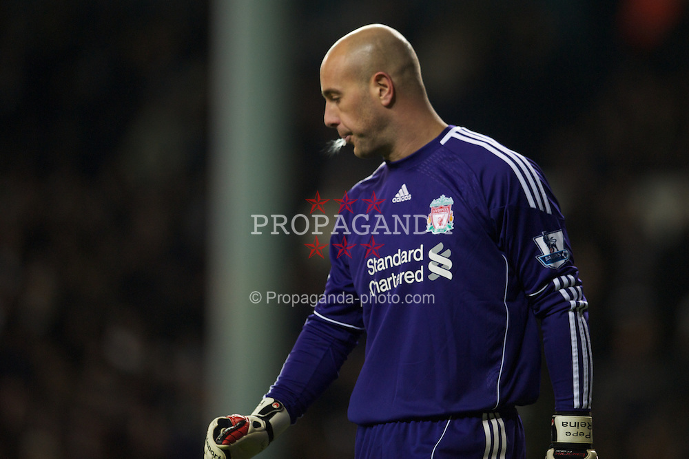 LONDON, ENGLAND - Sunday, November 28, 2010: Liverpool's goalkeeper Jose Reina in action against Tottenham Hotspur during the Premiership match at White Hart Lane. (Pic by: David Rawcliffe/Propaganda)