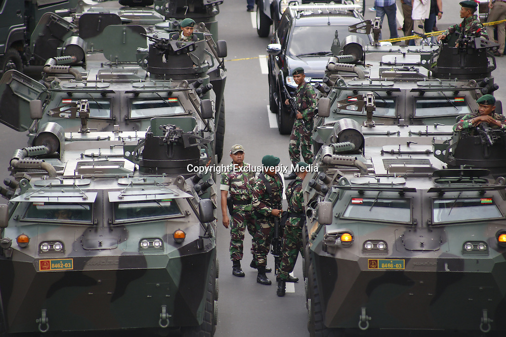 Jan. 13, 2016 - Jakarta, Jakarta, Indonesia - <br /> <br /> Millitary cars standby at thamron street. Several terrorist attack starbucks cafe at sarinah-Jakarta, causing around 6 people dead.<br /> ©Exclusivepix Media