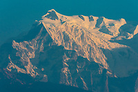 7555 m (24,787 ft.) Annapurna III, one of the peaks of the Annapurna Massif of the Himalayas, seen from Lekhnath,  near Pokhara, Nepal.