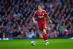 LIVERPOOL, ENGLAND - Monday, April 19, 2010: Liverpool's Daniel Agger in action against West Ham United during the Premiership match at Anfield. (Photo by: David Rawcliffe/Propaganda)