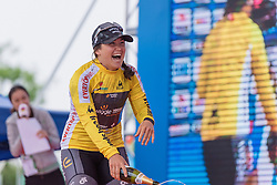 A happy race leader, Chloe Hosking with one stage to go - Tour of Chongming Island 2016 - Stage 2. A 113km road race on Chongming Island, China on May 7th 2016.