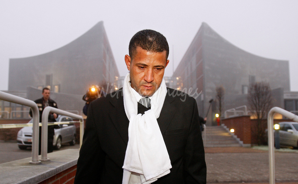 Morrocan born Bouchaib Moqadem, husband of Belgium's Genevieve Lhermitte, leaves the Palace of Justice in Nivelles December 8, 2008. Lhermitte went on trial on charges of stabbing to death her five children, before trying to commit suicide at home on February 28, 2007, in the town of Nivelles, south of Belgium's capital Brussels.   REUTERS/Thierry Roge (BELGIUM)