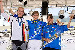 Second placed Leoni Dickerhoff (GER), Winner Fanny Lombard (FRA) and third placed Alia Marcellini (ITA) of Junior Women category at MTB Downhill European Championships, on June 14, 2009, at Kranjska Gora, Slovenia. (Photo by Vid Ponikvar / Sportida)