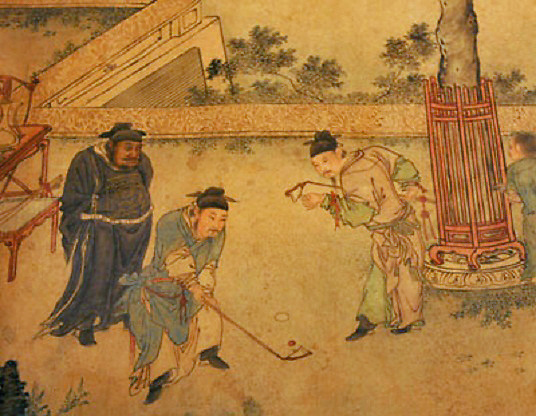 "Part of a Ming dynasty scroll ""The Autumn Banquet"", being exhibited at the Hong Kong Heritage Museum March 21, 2006, shows participants of an imperial court spend their pastime on 'chuiwan' similar to the modern day golf, in which the players hits a ball and drive it into a hole. The scroll, which is exhibited for the first time outside mainland China, has sparked a controversy of which country invented golf.    REUTERS/Bobby Yip"