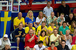 Supporters of Sweden during basketball match between National teams of Sweden and Slovenia in First Round of U20 Men European Championship Slovenia 2012, on July 13, 2012 in Domzale, Slovenia. (Photo by Vid Ponikvar / Sportida.com)