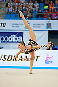 Staniouta Melitina during final at clubs in Pesaro World Cup April 12, 2015. Melitina is an Belarusian rhythmic gymnast, she was born in November 15, 1993 in Minsk. She is a three time World All-around bronze medalist in 2015, 2013, 2010 retired from rhythmic gymnastics in December 2016.