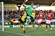 Burton Albion midfielder Joe Sbarra (26) attempts a cross against Nottingham Forest goalkeeper Costel Pantilimon (1) during the EFL Sky Bet Championship match between Burton Albion and Nottingham Forest at the Pirelli Stadium, Burton upon Trent, England on 17 February 2018. Picture by Richard Holmes.