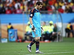 A dejected Iker CASILLAS reflects during the 2010 FIFA World Cup South Africa Group H match between Spain and Switzerland at Durban Stadium on June 16, 2010 in Durban, South Africa.