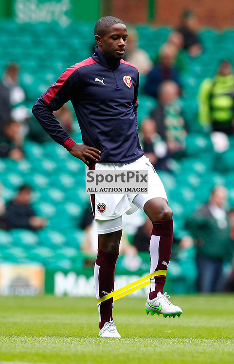 Celtic v Ross Hearts...Hearts latest signing warming up prior to the game Arnaud Djoum.....(c) STEPHEN LAWSON | SportPix.org.uk