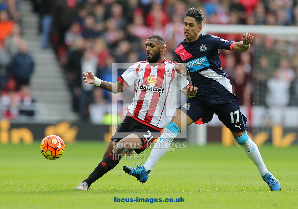 Yann M'Vila (l) of Sunderland and Ayoze Perez of Newcastle United during the Barclays Premier League match at the Stadium Of Light, Sunderland<br /> Picture by Simon Moore/Focus Images Ltd 07807 671782<br /> 25/10/2015