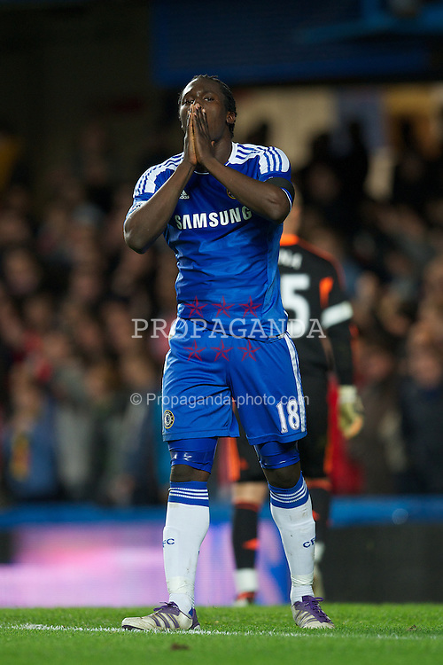 LONDON, ENGLAND - Tuesday, November 29, 2011: Chelsea's Romelu Lukaku rues a missed chance against Liverpool during the Football League Cup Quarter-Final match at Stamford Bridge. (Pic by David Rawcliffe/Propaganda)