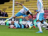 Gomes saves from Alexsandar Mitrovic during the The FA Cup Third Round match between Watford and Newcastle United at Vicarage Road, Watford, England on 9 January 2016. Photo by Dave Peters.