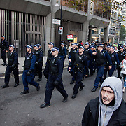Small groups of students followed by police moved down towards Victoria station with several arrest made after various Government Departments and shops had been tageted with pain bombs. Thousands of students turned out to a march against fees and cuts in the education sector, calling for workers ans students to unite againts the Government's austerity policies.