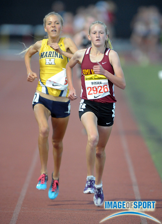 Apr 7, 2012; Arcadia, CA, USA; Sarah Baxter of Simi Valley defeats Laura Hollander of Marina to win the girls 3,200m, 10:08.11 to 10:10.51, in the Arcadia Invitational at Arcadia High.