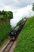 UK, 7 June 2009: The Tornado, a Peppercorn class A1 Pacific steam locomotive, on the West Somerset Railway heads towards Crowcombe Heathfield station. Photo by Peter Horrell / http://peterhorrell.com