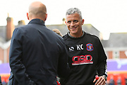 Carlisle Utd manager Keith Curle shakes hands with Exeter City manager Paul Tisdale before the EFL Sky Bet League 2 play off second leg match between Exeter City and Carlisle United at St James' Park, Exeter, England on 18 May 2017. Photo by Graham Hunt.