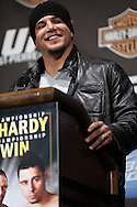 "NEW YORK, NEW YORK, MARCH 24, 2010: UFC heavyweight fighter Frank Mir addresses the media during the pre-fight press conference for ""UFC 111: St. Pierre vs. Hardy"" inside Radio City Music Hall in New York City"