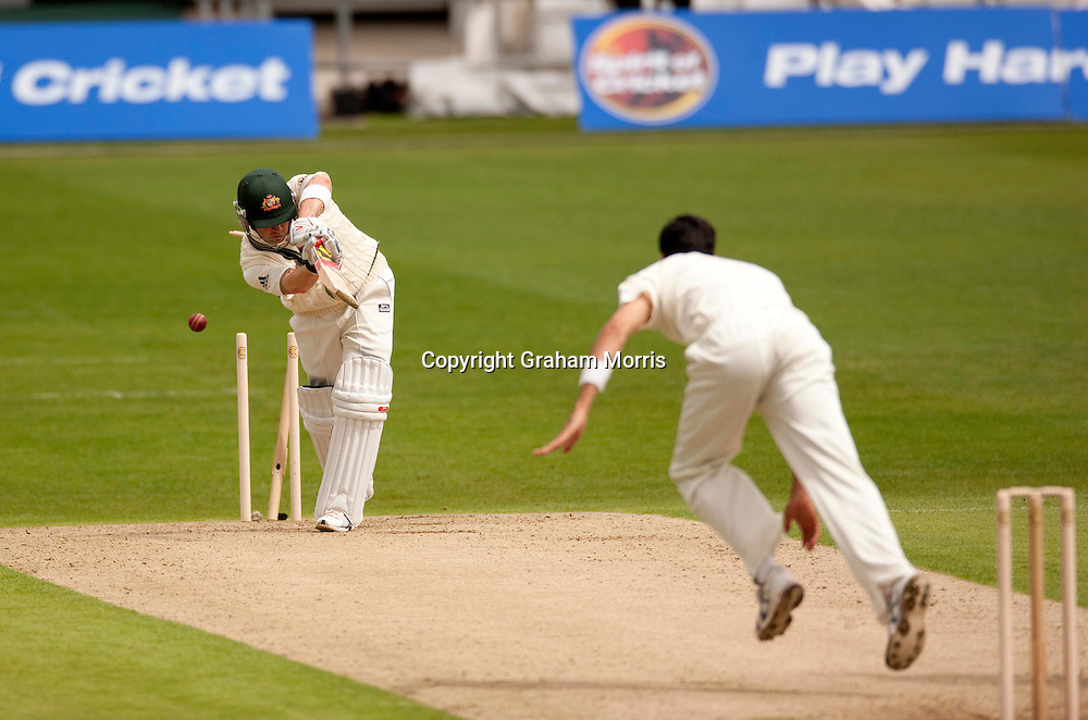Michael Clarke is bowled by Umar Gul during the second MCC Spirit of Cricket Test Match between Pakistan and Australia at Headingley, Leeds.  Photo: Graham Morris (Tel: +44(0)20 8969 4192 Email: sales@cricketpix.com) 21/07/10