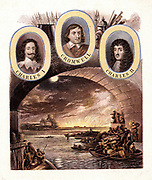 Fire of London, 1666: boats full of citizens who have escaped, looking back to Old St Pauls and the blazing city from the safety of the south bank of the Thames.   Portraits of Charles I (1600-1649) Oliver Cromwell, Lord Protector  (1599-1658) and Charles II (1630-1685). Kronheim chromolithograph c1865