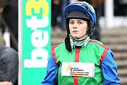 Jockey Bridget Andrews before The Class 1 bet365 Charlie Hall Steeple Chase over 3m (£100,000) during the Bet365 Meeting at Wetherby Racecourse, Wetherby, United Kingdom on 3 November 2018. Picture by Mick Atkins.