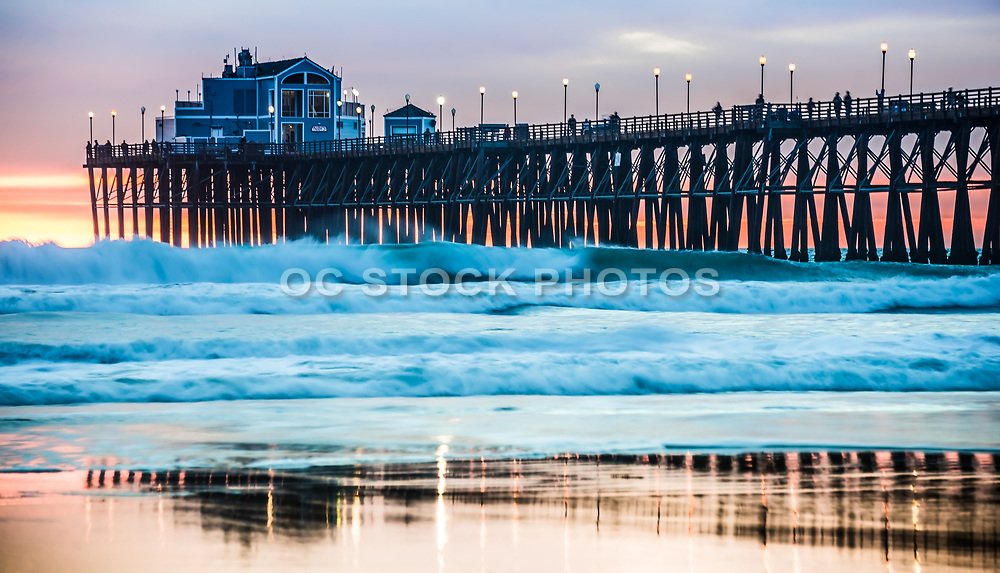Waves At Sunset By The Oceanside Pier