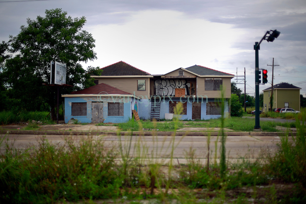 27 August 2014. Lower 9th Ward, New Orleans, Louisiana.<br /> Hurricane Katrina 9 years later. Many derelict, falling down buildings dot the landscape as the area struggles to recover from Hurricane Katrina.<br /> Photo; Charlie Varley/varleypix.com
